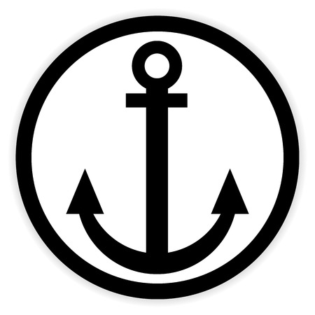 anchored: Anchor button on white background. Vector illustration.