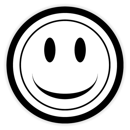 trato amable: Smile face circle button on white background. Vector illustration.