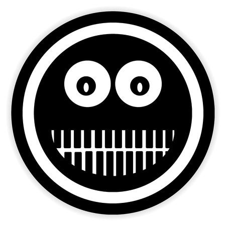 trato amable: Sonrisa cara bot�n c�rculo sobre fondo blanco. Ilustraci�n del vector.