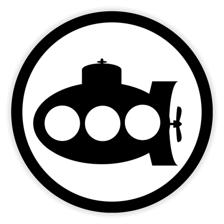 Submarine icon on white background. Vector illustration.