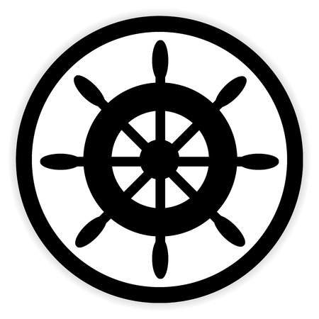 schooner: Steering wheel button on white background. Vector illustration. Illustration