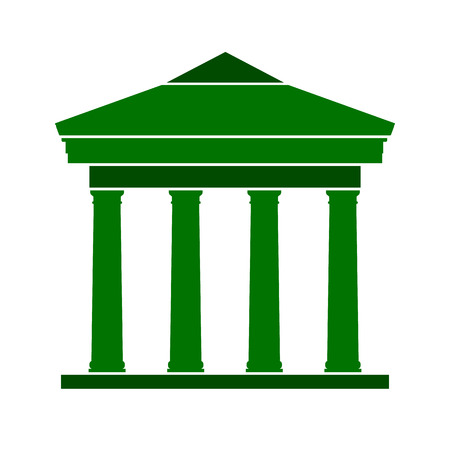 Bank symbol icon on white background. Vector illustration.