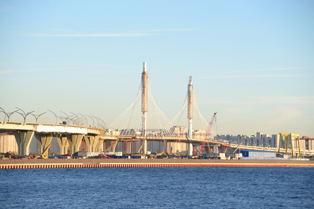 turnpike: ST.PETERSBURG, RUSSIA - 13 SEPTEMBER, 2016: Western High Speed Diameter - under construction intracity turnpike in St. Petersburg.
