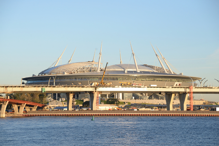 ST.PETERSBURG, RUSSIA - 13 SEPTEMBER, 2016: Construction Zenith Arena. One of the most expensive football stadiums in the world. Author of the project was the Japanese architect Kisho Kurokawa. Editorial