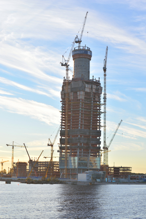 expected: ST.PETERSBURG, RUSSIA - 13 SEPTEMBER, 2016: Under construction skyscraper Lakhta Center at evening. It is expected that the building will be the tallest in Europe and Russia - 462 m. Editorial