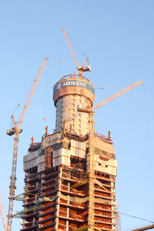 ST.PETERSBURG, RUSSIA - 13 SEPTEMBER, 2016: Under construction skyscraper Lakhta Center at evening. It is expected that the building will be the tallest in Europe and Russia - 462 m. Editorial