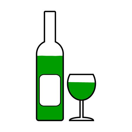 glasse: Bottle and glasse symbol icon on white background. Vector illustration.