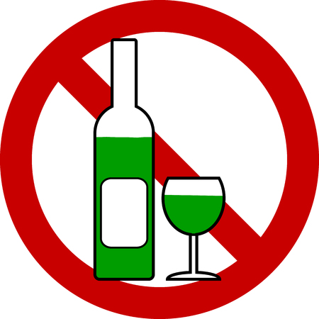 glasse: No bottle and glasse sign on white background. Vector illustration. Illustration