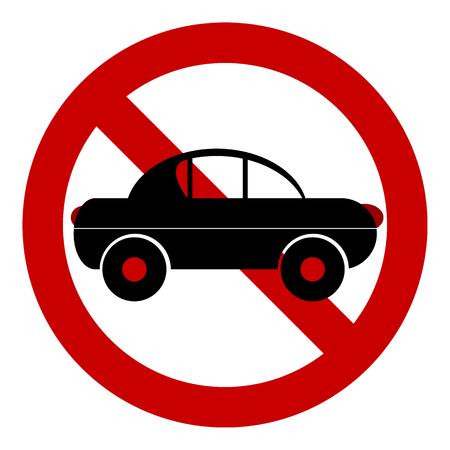 Geen autoverkeersteken op witte achtergrond. Vector illustratie.