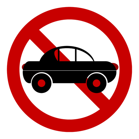 No car road sign on white background. Vector illustration.
