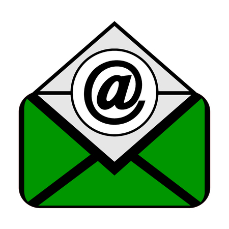 Mail symbol icon on white background. Vector illustration.
