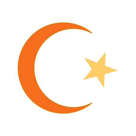Star and crescent symbol icon on white background. Vector illustration. Symbol of Islam.