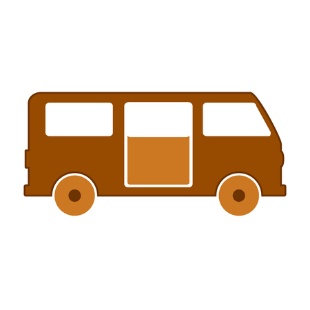 Minibus symbol icon on white background. Vector illustration. Illustration