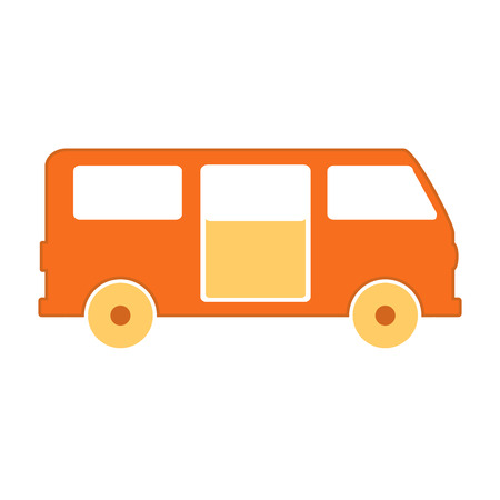 mini job: Minibus symbol icon on white background. Vector illustration. Illustration