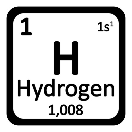hydrogen: Periodic table element hydrogen icon on white background. Vector illustration.