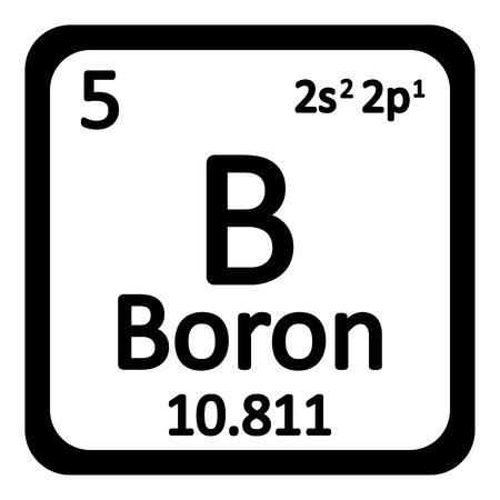 periodic table: Periodic table element boron icon on white background. Vector illustration. Illustration