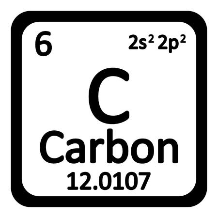 Periodico icona elemento carbonio tavolo su sfondo bianco. Illustrazione vettoriale.