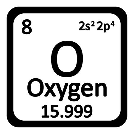 Ikona pierwiastków pierwiastków tlenu na białym tle. Ilustracji wektorowych.