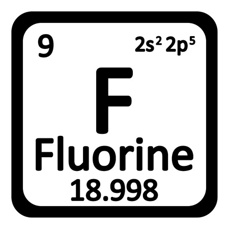 primordial: Periodic table element fluorine icon on white background. Vector illustration.