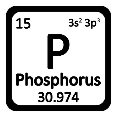 Périodique élément table icône de phosphore sur fond blanc. Vector illustration. Vecteurs