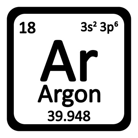 argon: Periodic table element neon icon on white background. Vector illustration.