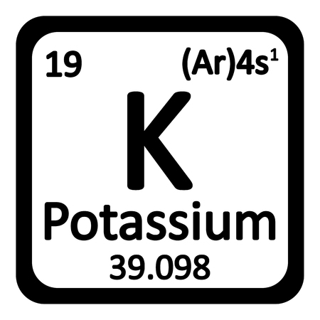 primordial: Periodic table element potassium icon on white background. Vector illustration.