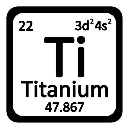 titanium: Periodic table element titanium icon on white background. Vector illustration.