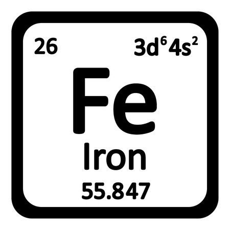 Periodic table element iron icon on white background. Vector illustration. 일러스트