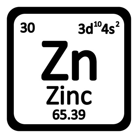 primordial: Periodic table element zinc icon on white background. Vector illustration.