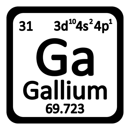 chemical material: Periodic table element gallium icon on white background. Vector illustration.