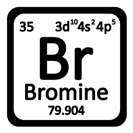 primordial: Periodic table element bromine icon on white background. Vector illustration.
