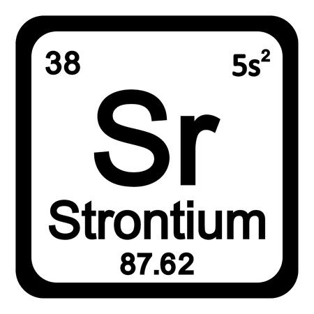 alkali metal: Periodic table element strontium icon on white background. Vector illustration. Illustration