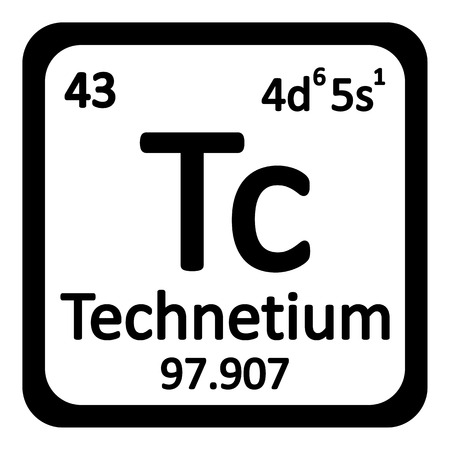 primordial: Periodic table element technetium icon on white background. Vector illustration.