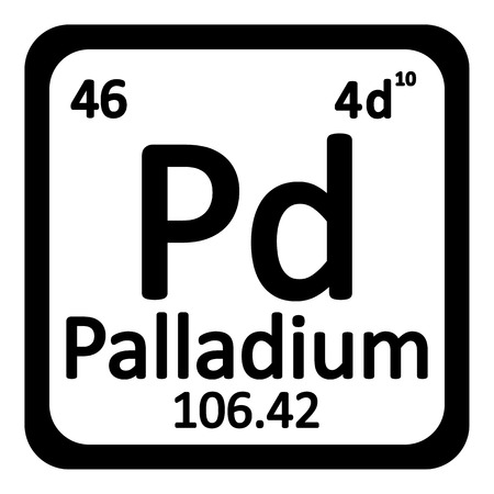 primordial: Periodic table element palladium icon on white background. Vector illustration. Illustration