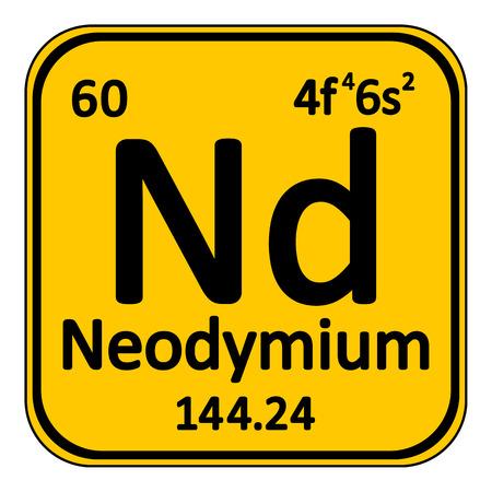periodic table: Periodic table element neodymium icon on white background.
