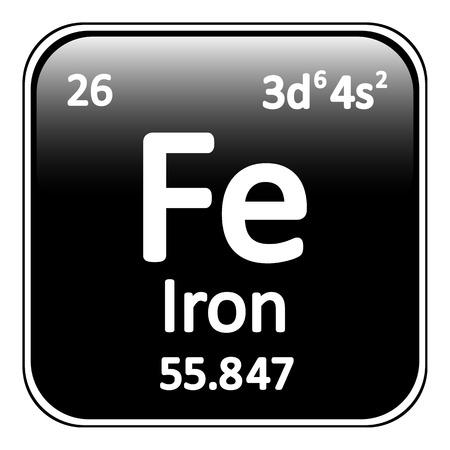periodic table: Periodic table element iron icon on white background. Vector illustration. Illustration