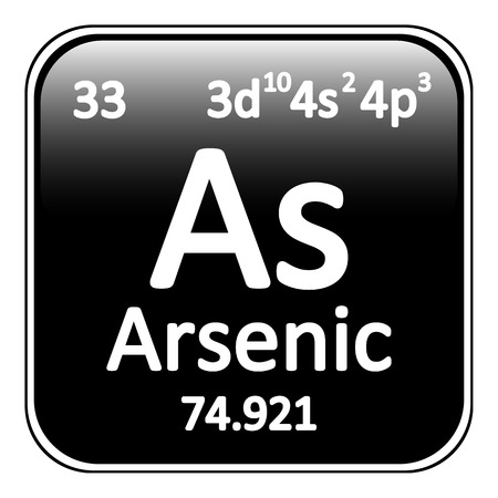 arsenic: Periodic table element arsenic icon on white background. Vector illustration.