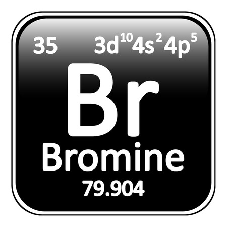 periodic table: Periodic table element bromine icon on white background. Vector illustration.