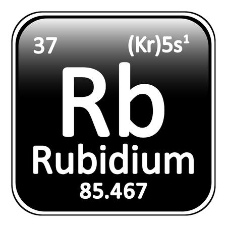 alkali metal: Periodic table element rybidium icon on white background. Vector illustration.