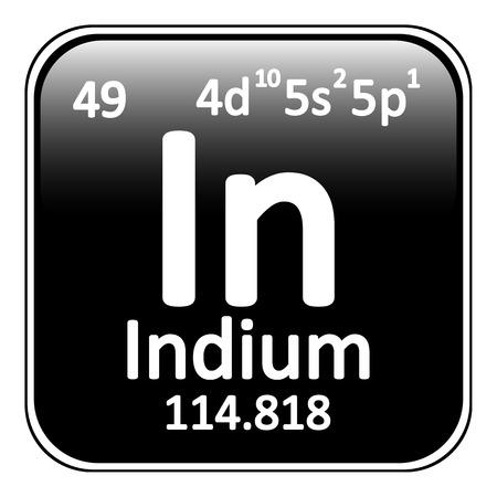 indium: Periodic table element indium icon on white background. Vector illustration.