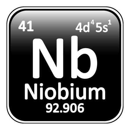 niobium: Periodic table element niobium icon on white background. Vector illustration.