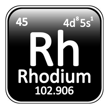 rhodium: Periodic table element rhodium icon on white background. Vector illustration.