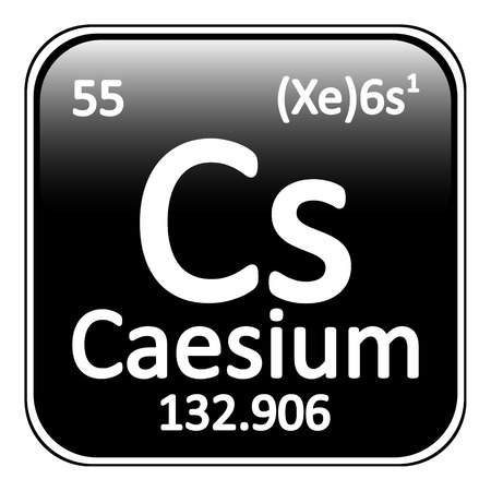 caesium: Periodic table element caesium icon on white background. Vector illustration.