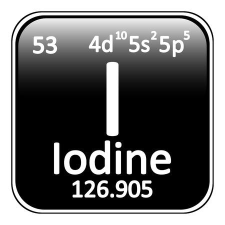 iodine: Periodic table element iodine icon on white background. Vector illustration.