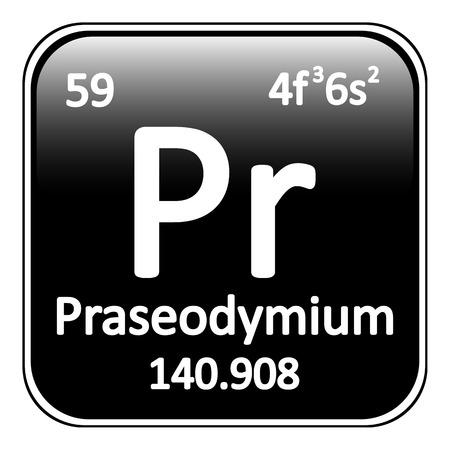 Periodic table element praseodymium icon on white background. Vector illustration. Illustration