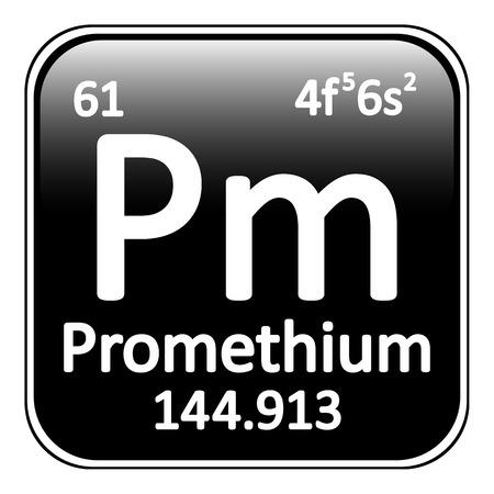periodic table: Periodic table element promethium icon on white background. Vector illustration.