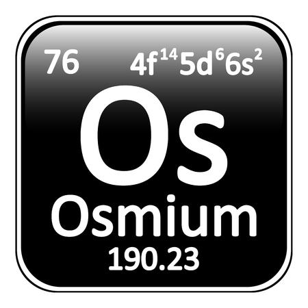 periodic table: Periodic table element osmium icon on white background. Vector illustration.