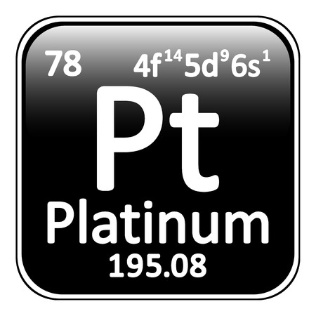 platinum: Periodic table element platinum icon on white background. Vector illustration.