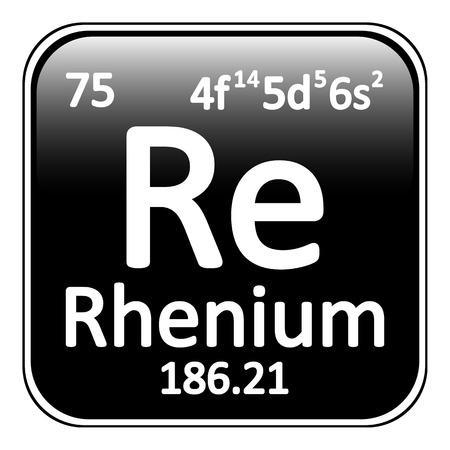 periodic table: Periodic table element rhenium icon on white background. Vector illustration.