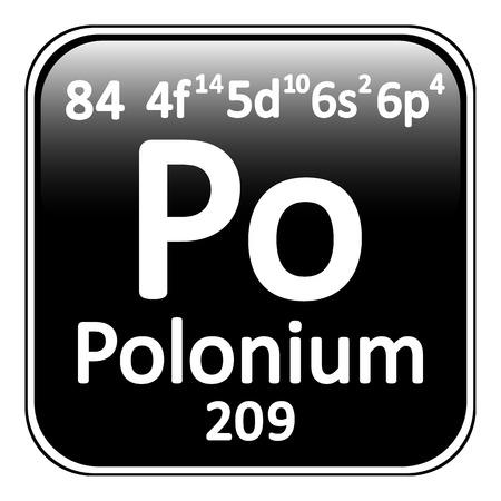 polonium: Periodic table element polonium icon on white background. Vector illustration. Illustration